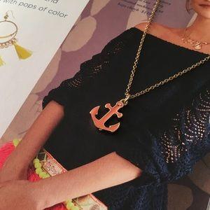 Millennial Pink Anchor Silver Nautical Necklace